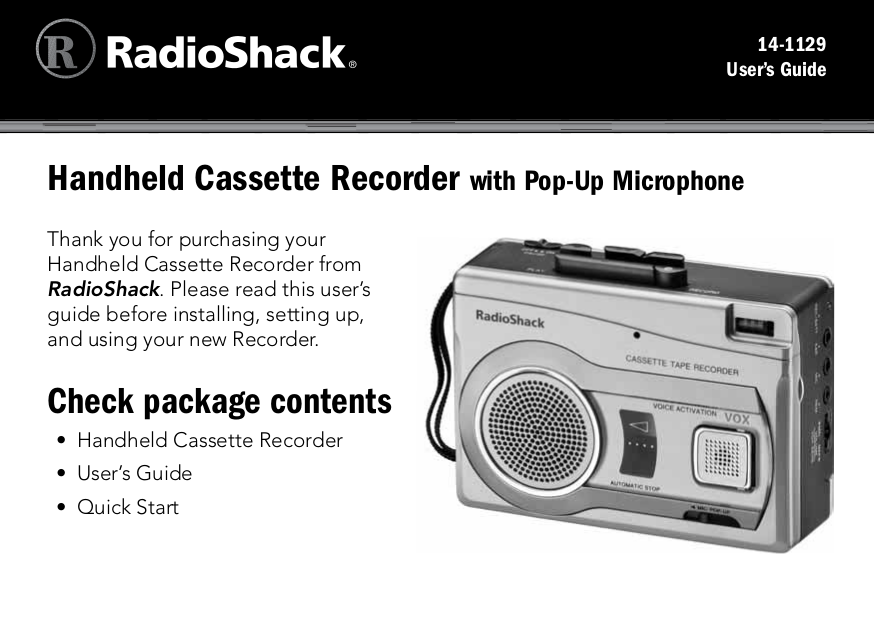 pdf for Lenoxx Other 1129 Cassette Players manual