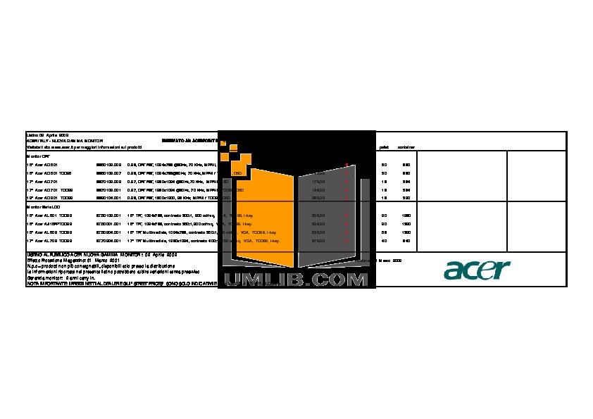 pdf for Acer Monitor AL702 manual