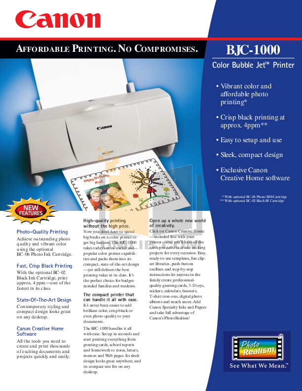 pdf for Canon Printer BJC-1000 manual