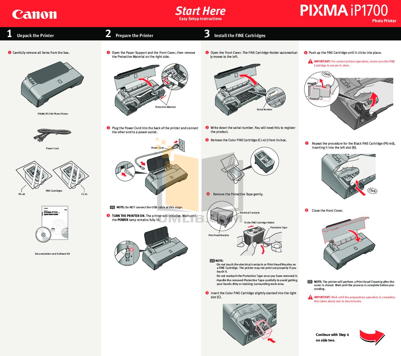 pdf for Canon Printer PIXMA iP1700 manual