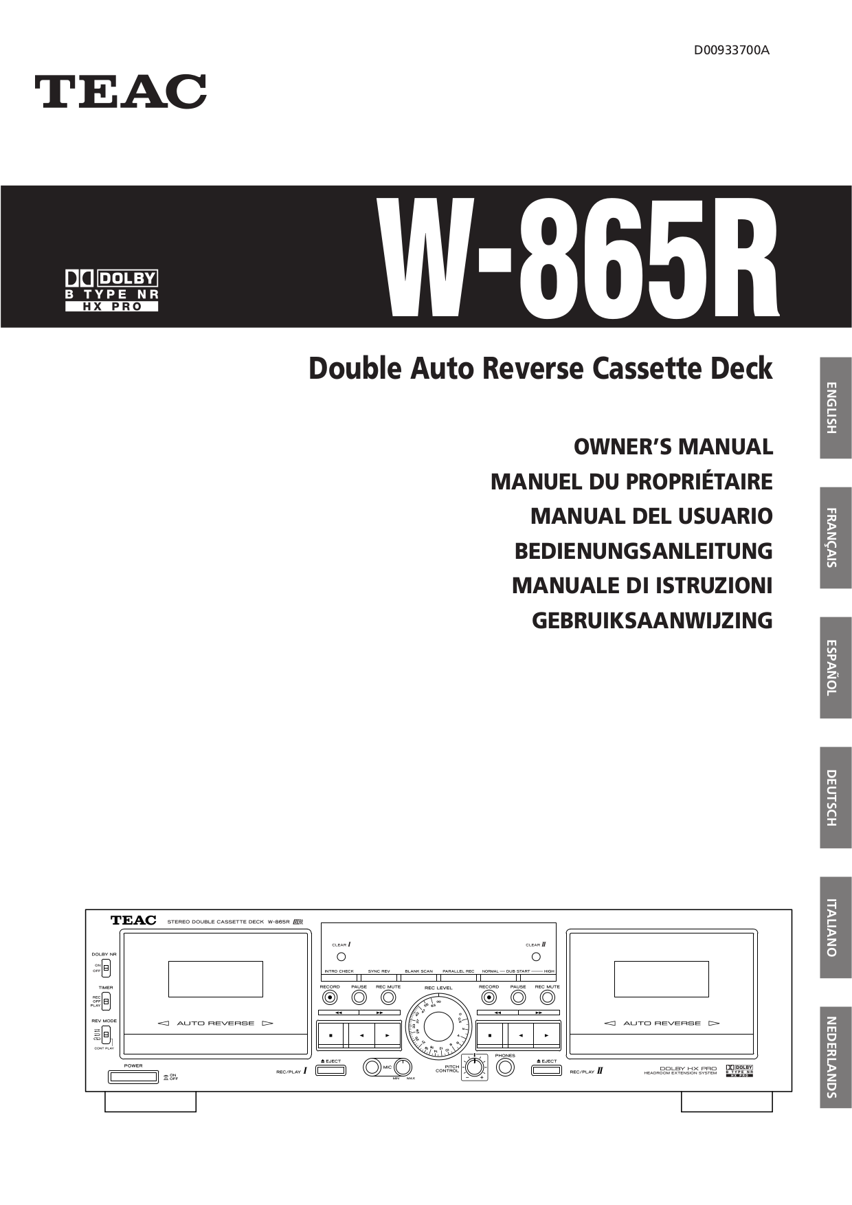 pdf for Teac Other W-865R Cassette Deck manual