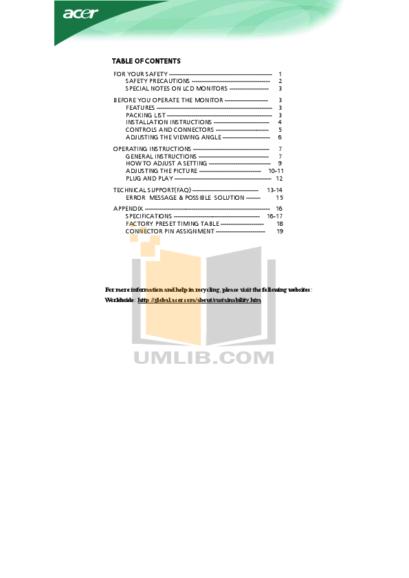 pdf for Acer Monitor AL2251W manual