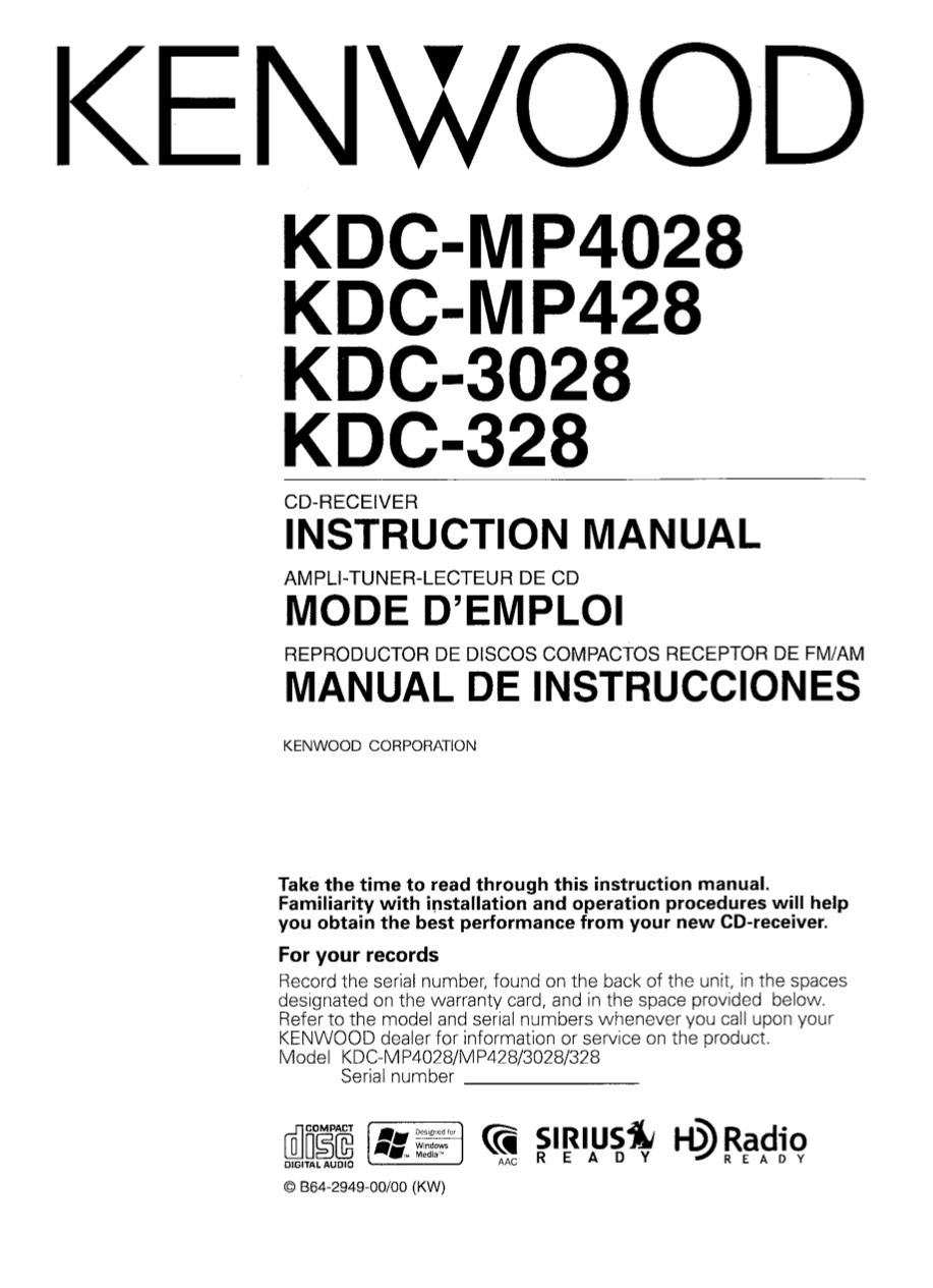 Pdf Manual For Kenwood Car Receiver Kdc 328 Mp4028 Wiring Diagram Page Preview