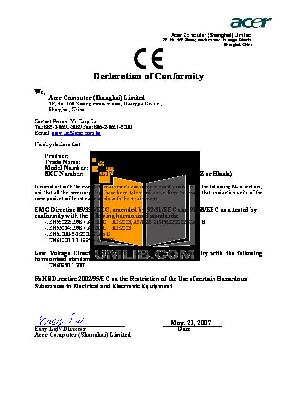 pdf for Acer Monitor AL1716W manual