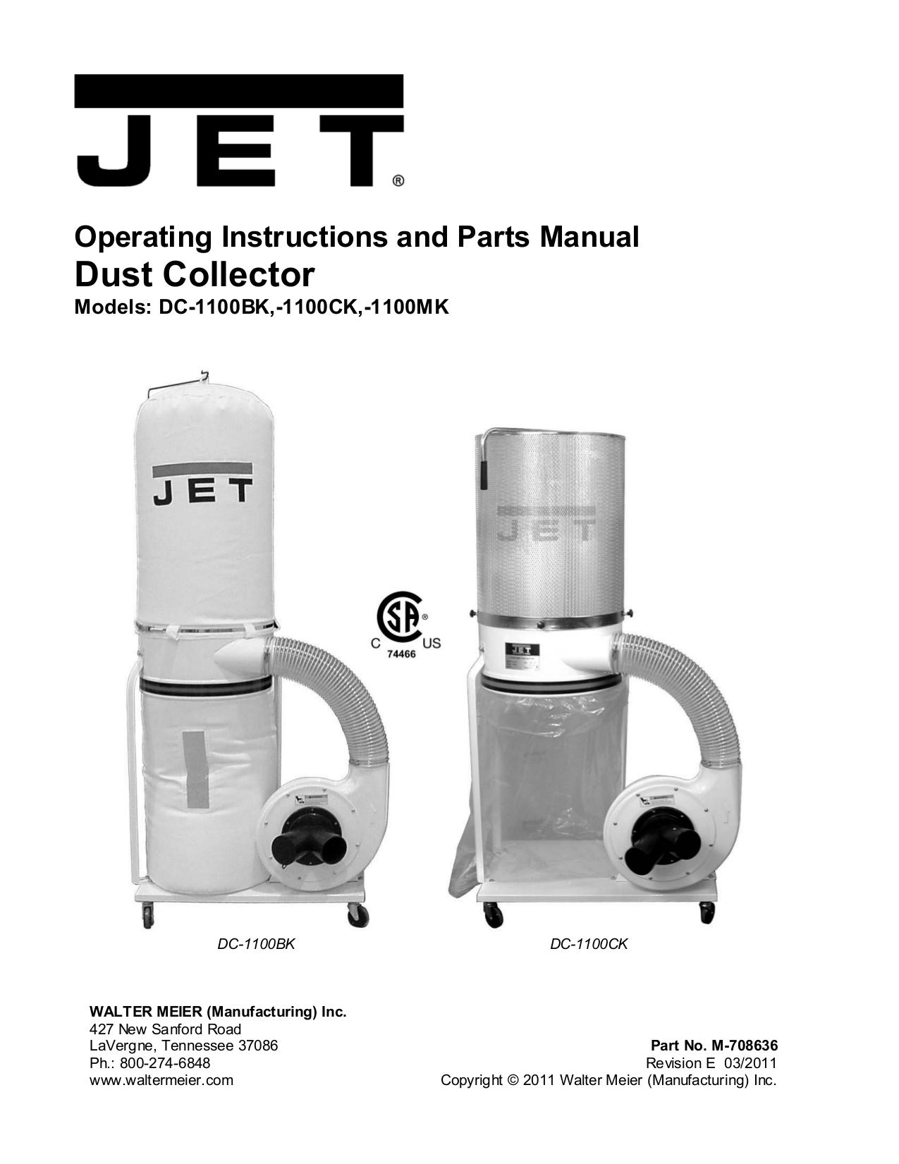 pdf for Jet Vacuum DC-1100C manual