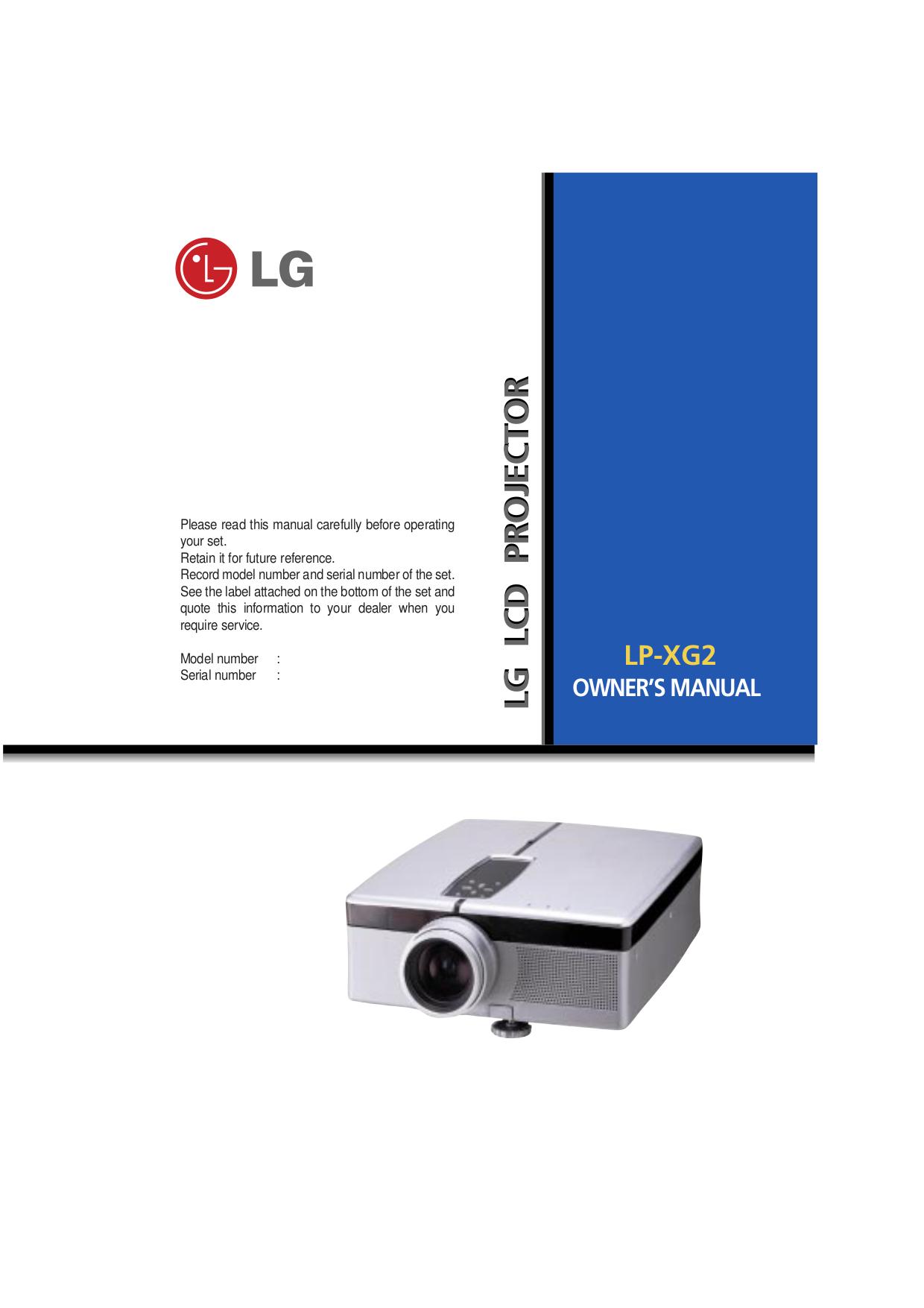 pdf for LG Projector LP-XG2 manual