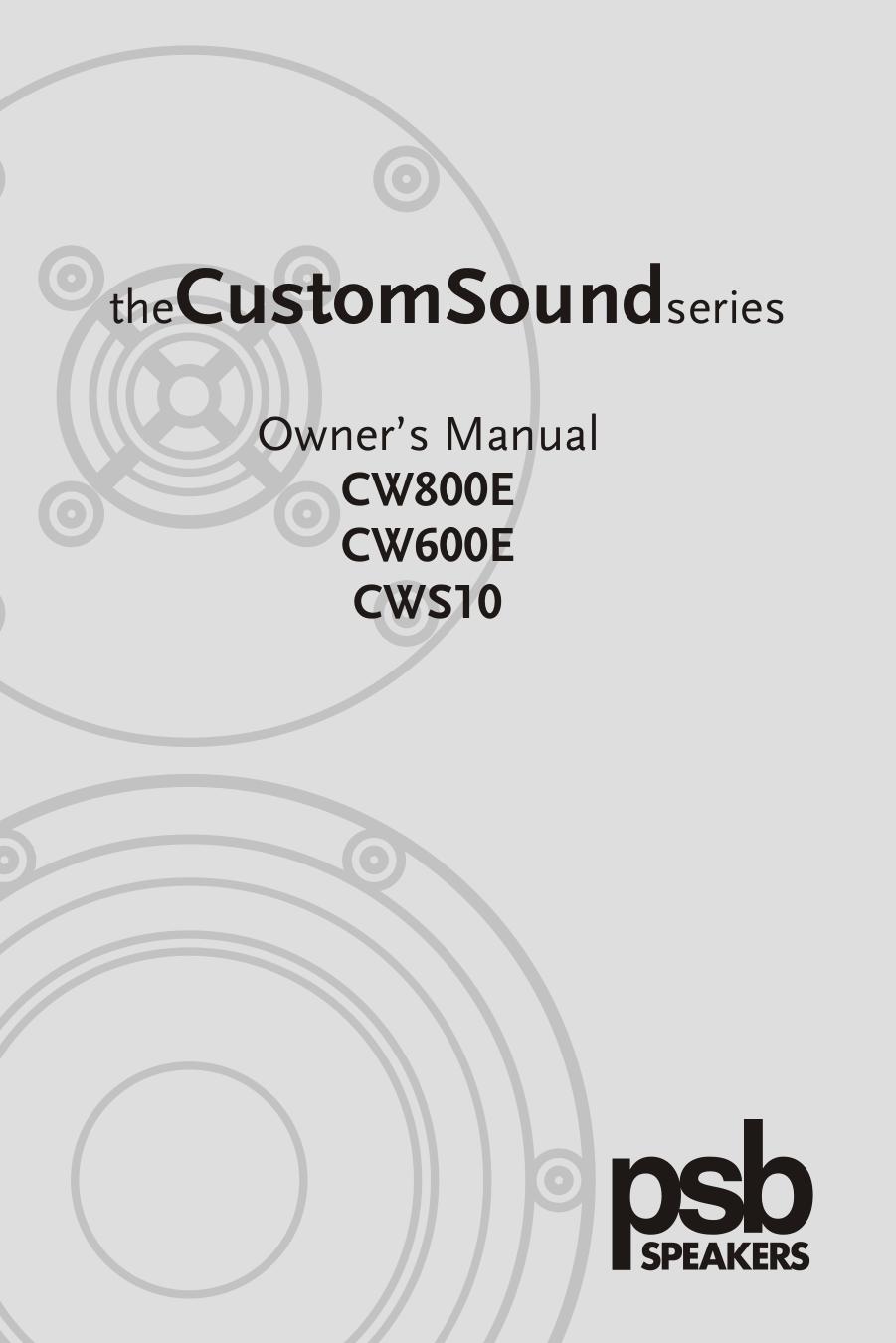 pdf for PSB Speaker System CustomSound CW600E manual