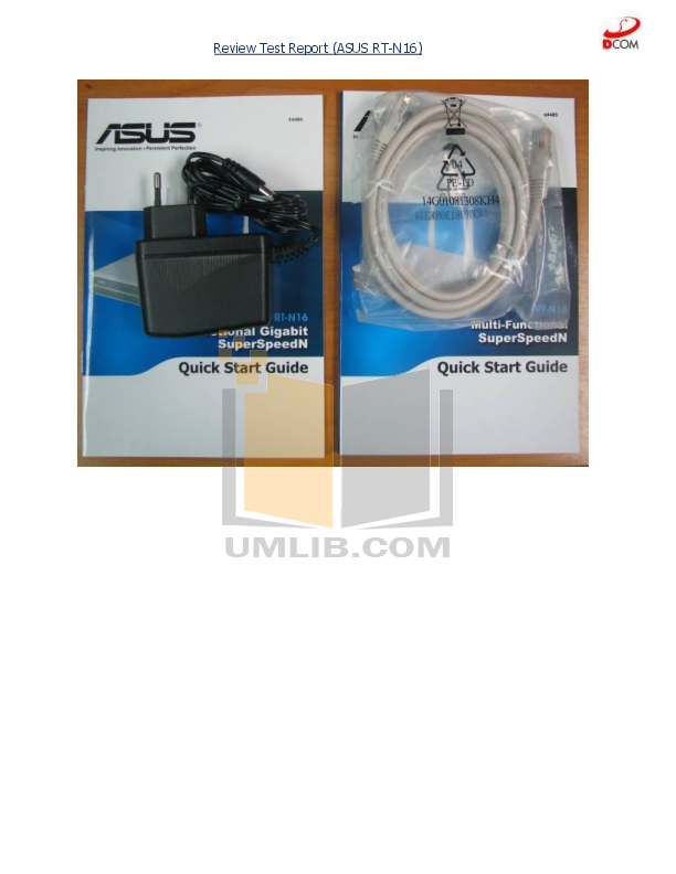 Asus Wireless Router RT-N16 pdf page preview