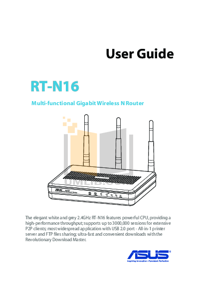 pdf for Asus Wireless Router RT-N16 manual