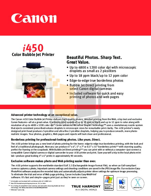 pdf for Canon Printer i450 manual