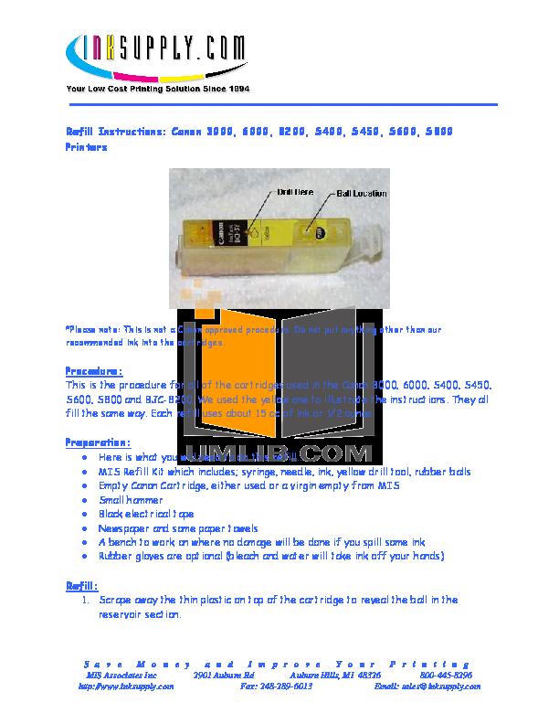 pdf for Canon Printer BJC-S400 manual