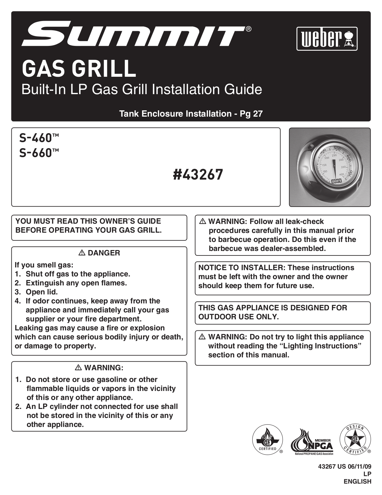 pdf for Weber Grill S-660 manual
