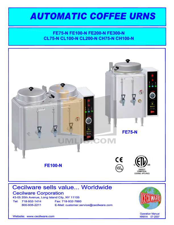 pdf for Cecilware Coffee Maker CL100N manual