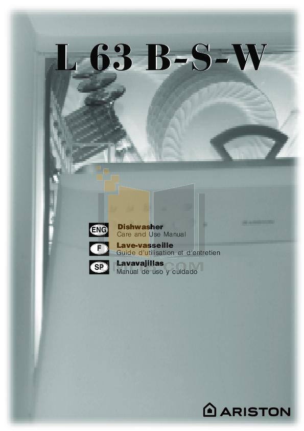 pdf for Ariston Dishwasher L 63 B NA manual