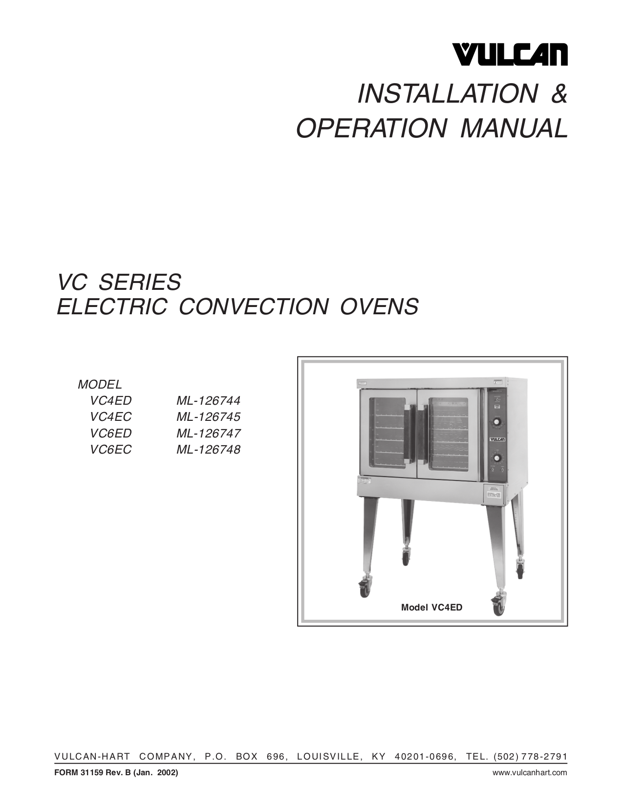 pdf for Vulcan Oven VC6EC manual