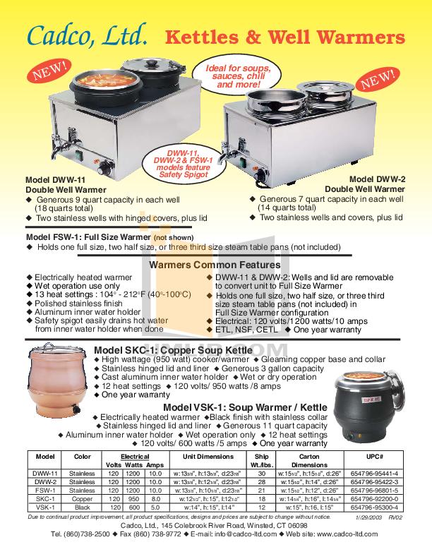pdf for Cadco Other VSK-1 Kettles manual