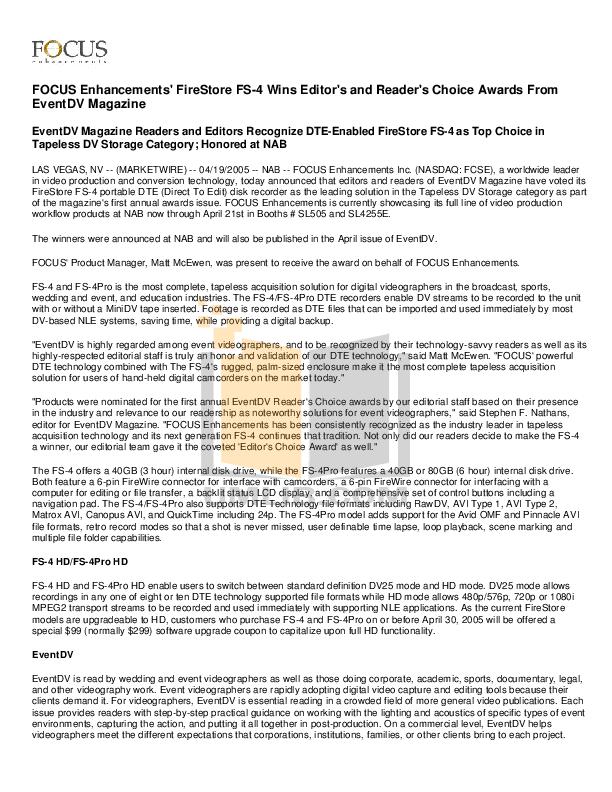 pdf for Focus Storage FS-4Pro manual