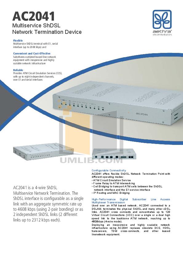 pdf for Aethra Switch AC2041 manual