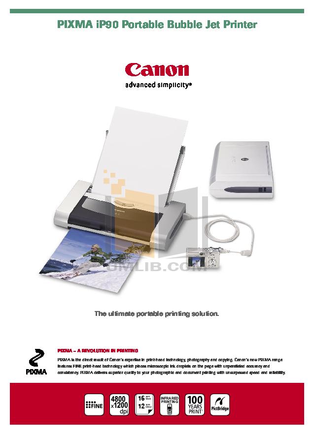 pdf for Canon Printer PIXMA iP90 manual