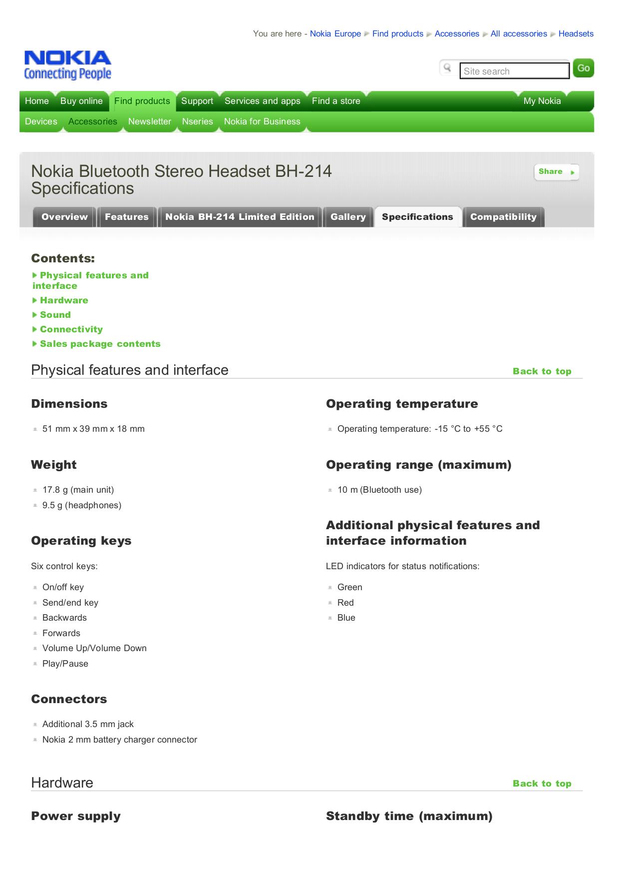 pdf for Nokia Headset BH-214 manual