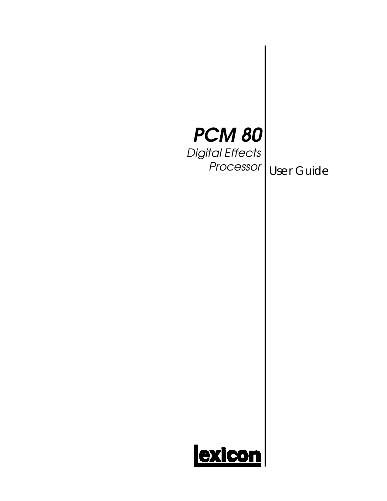 pdf for Lexicon Other CP-2 Digital Processors manual