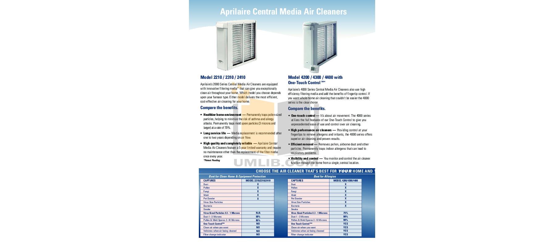 Aprilaire Air Purifier 4300 pdf page preview