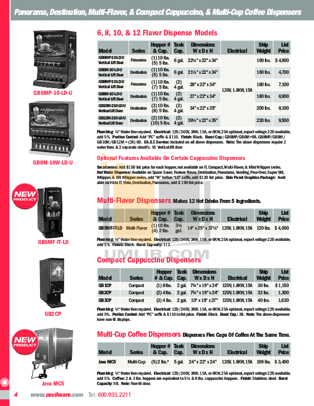 Cecilware Coffee Maker CS3AWT pdf page preview
