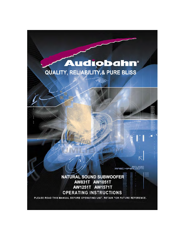 pdf for Audiobahn Subwoofer AW1251T manual