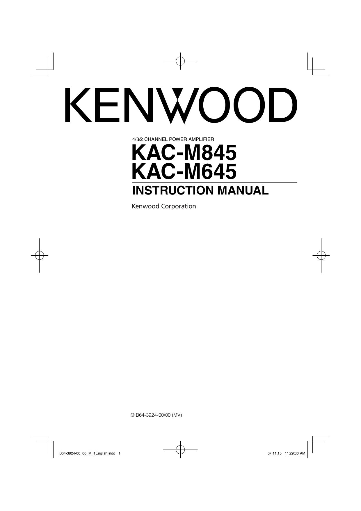 Kenwood Kac 649s manual on