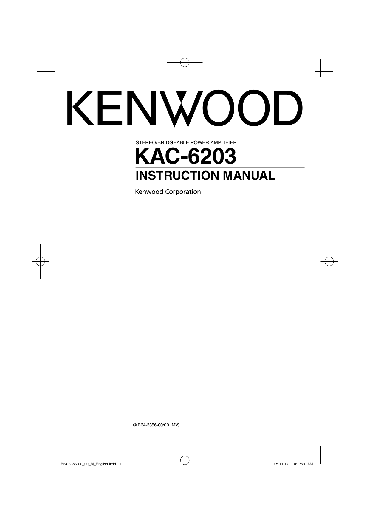Kenwood Kac 720 Wiring Diagram 30 Images Model Kdc Install 6203 Ins Manualpdf 0 Harness Stereo Power Amp