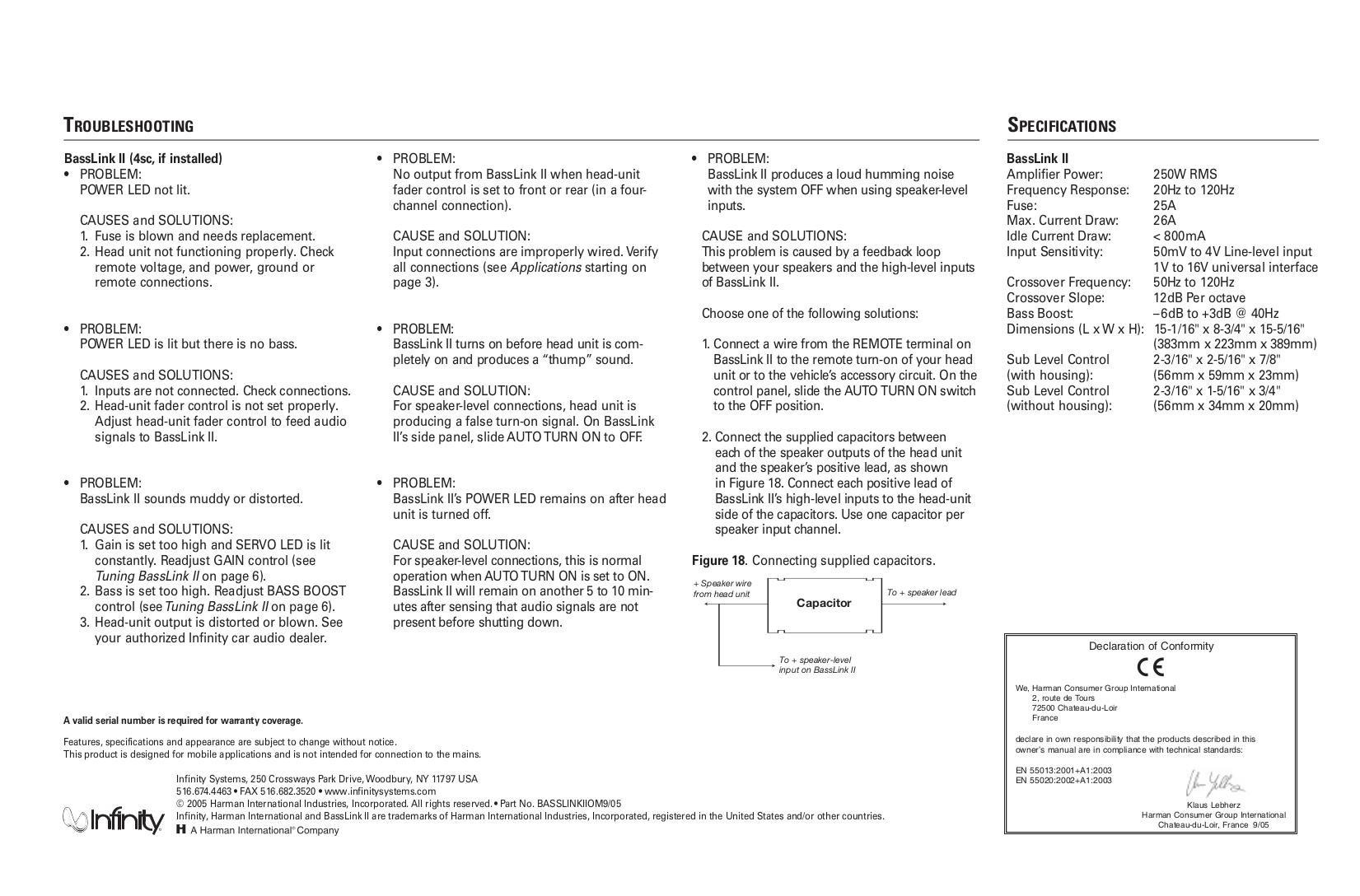 Infinity Car Amplifier Basslink 4SC pdf page preview