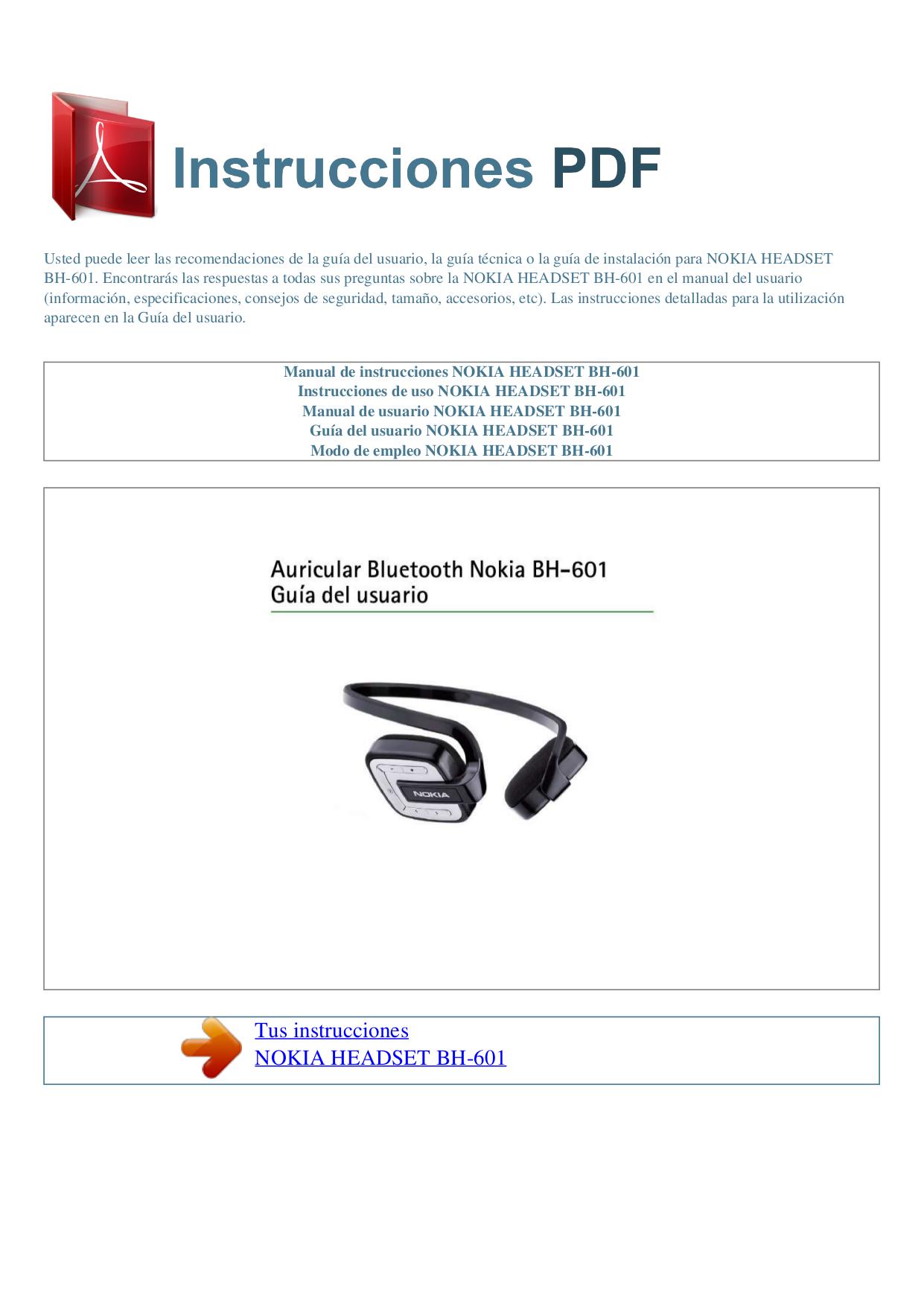 pdf for Nokia Headset BH-601 manual