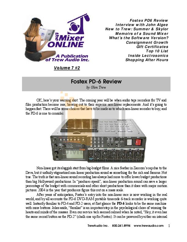 pdf for Fostex DVD Players PD-6 manual