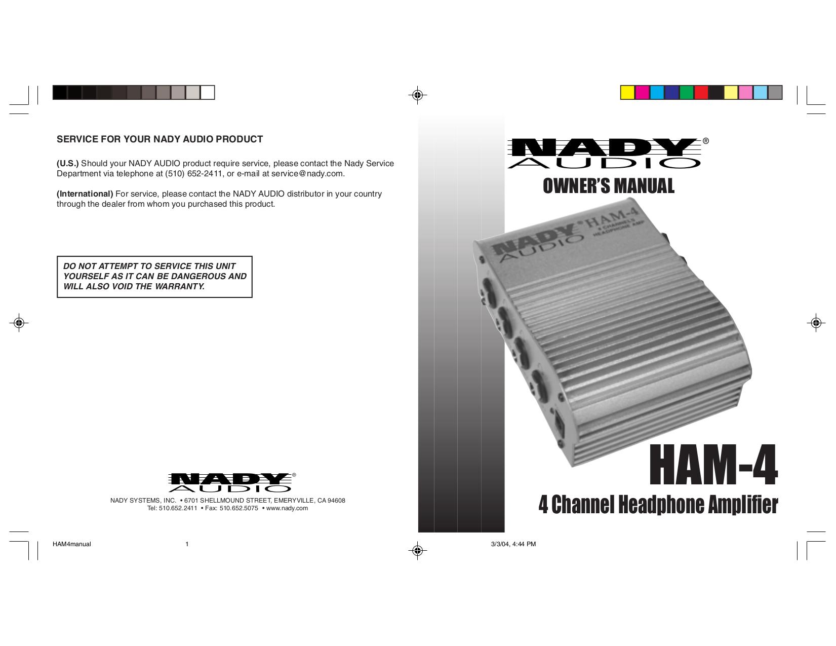 pdf for Nady Amp HAM-4 manual