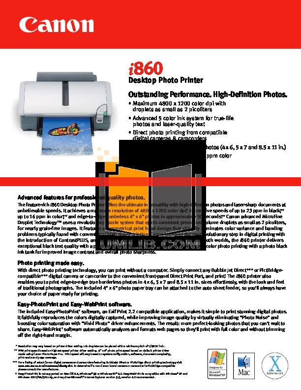 pdf for Canon Printer i860 manual