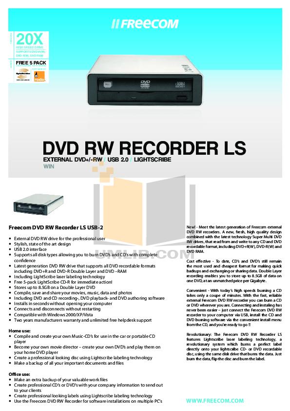 pdf for Freecom DVD Drive DVD RW Recorder manual