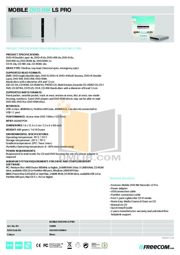 Freecom DVD Drive DVD RW Recorder pdf page preview