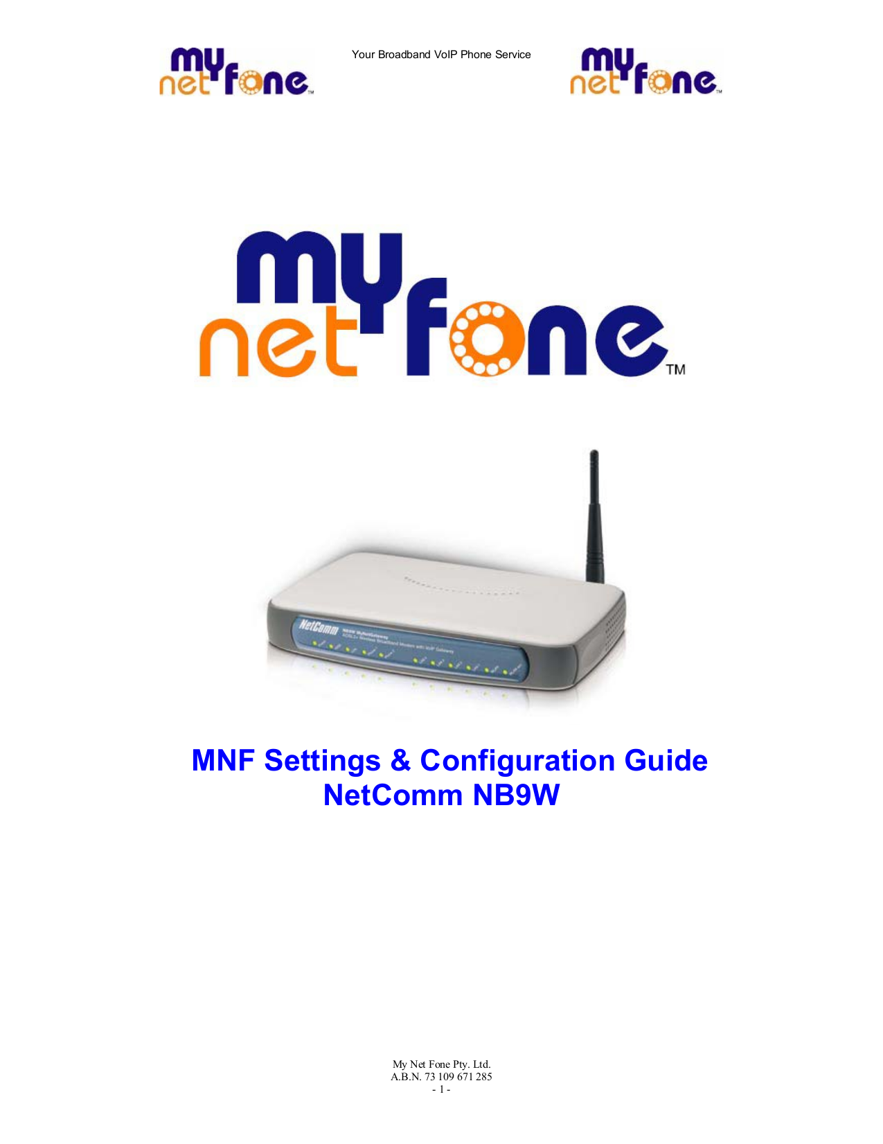 pdf for Netcomm Router NB9 manual