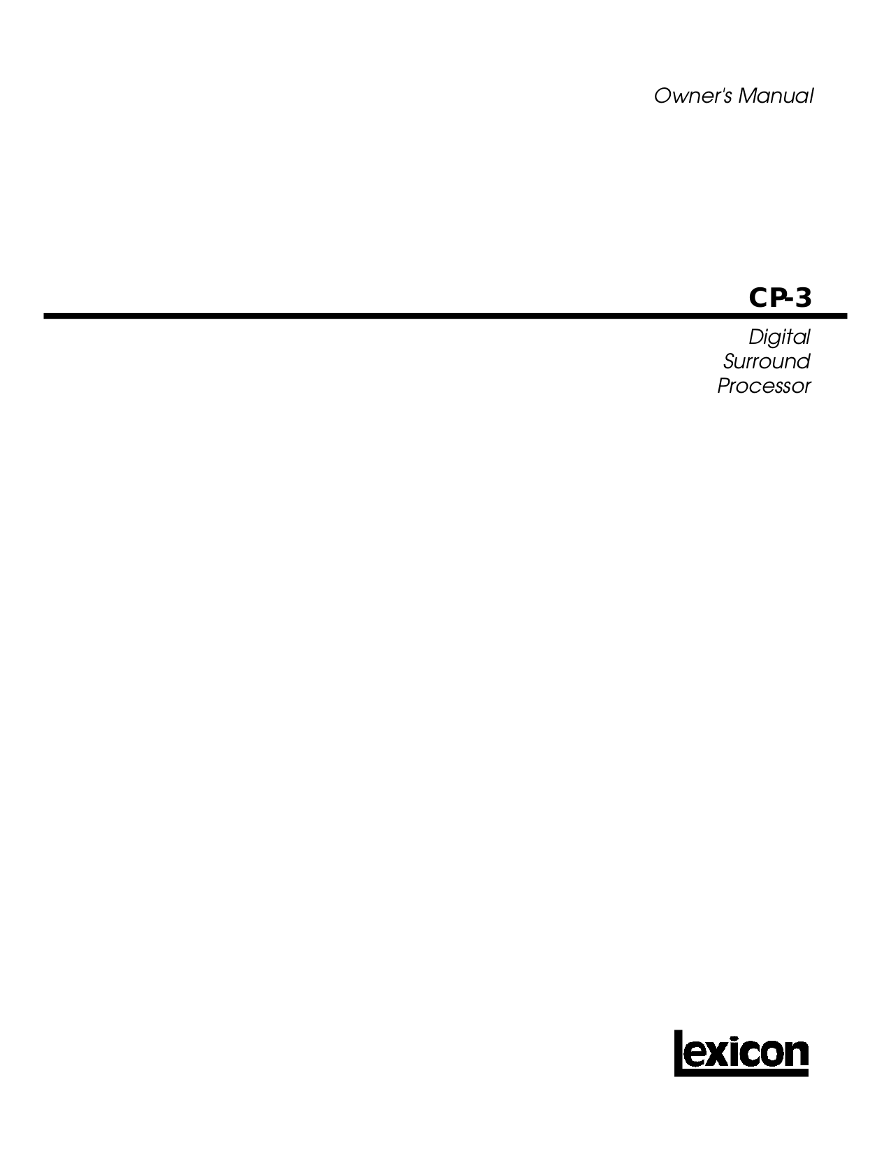 pdf for Lexicon Other CP-3 Plus Digital Processors manual