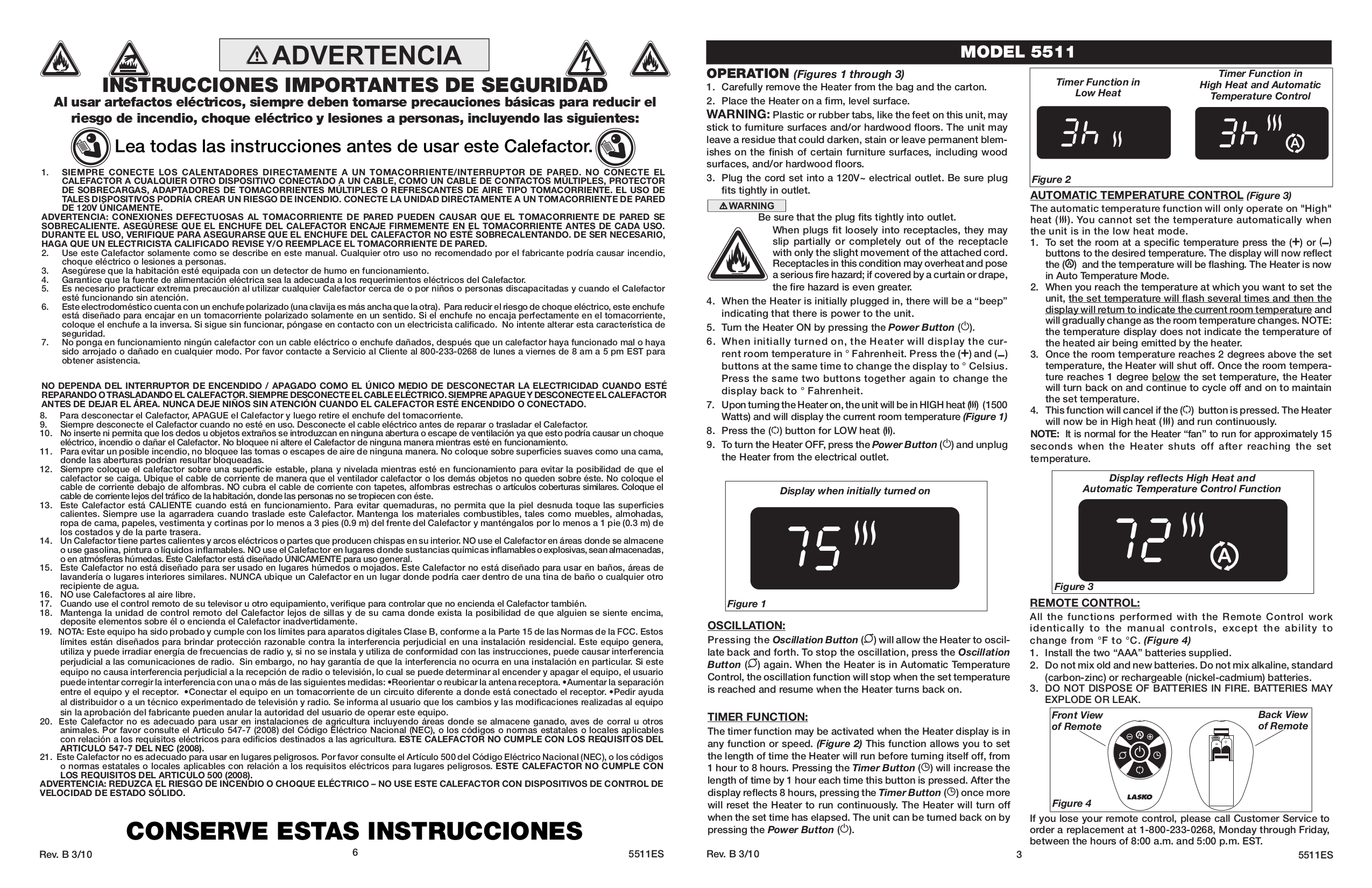 Lasko Heater 5511 pdf page preview