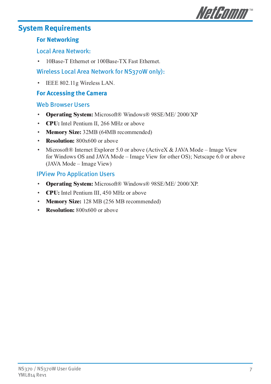 Netcomm Security Camera NS370W pdf page preview