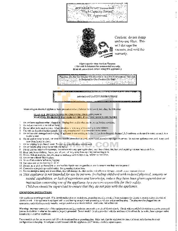 pdf for Atrix Vacuum High Capacity HEPA Vacuum manual