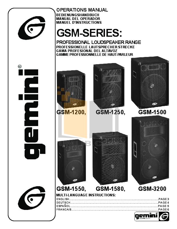 pdf for Gemini Speaker GSM-1250 manual