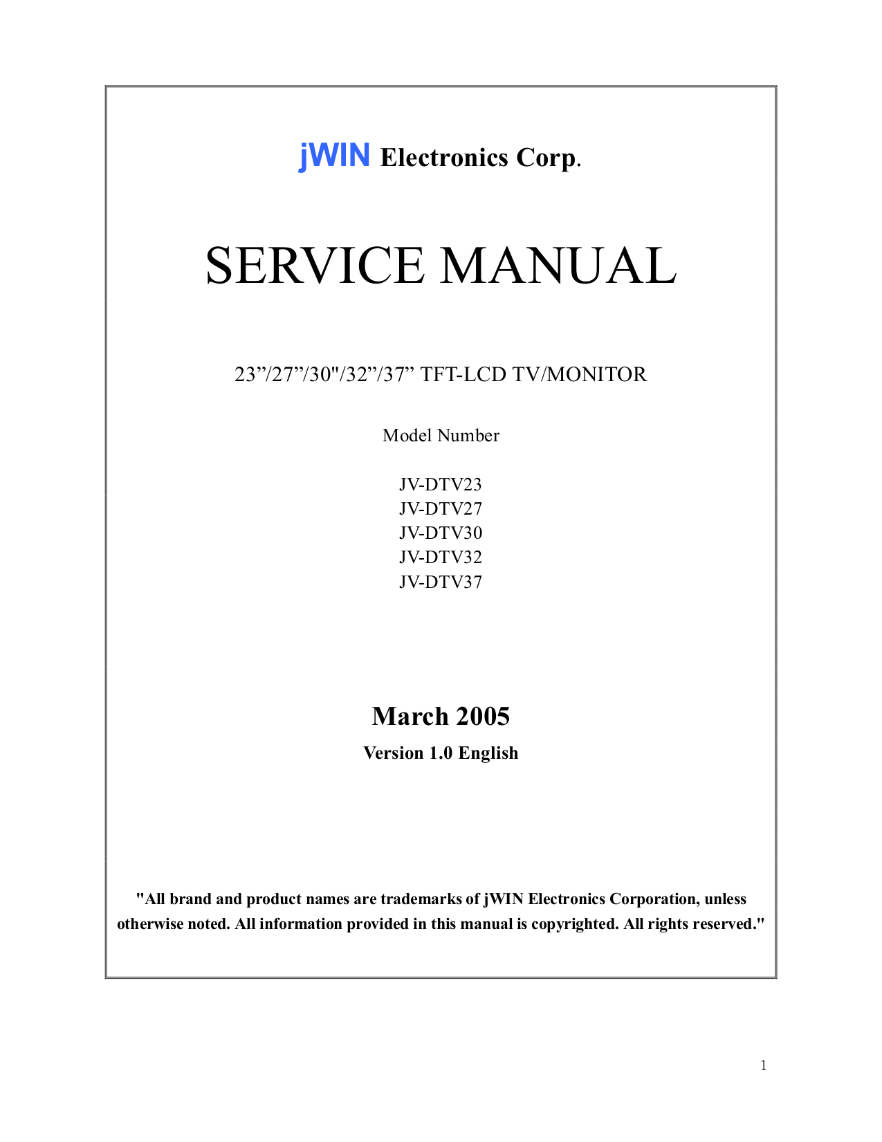 pdf for jWIN TV JV-DTV23 manual