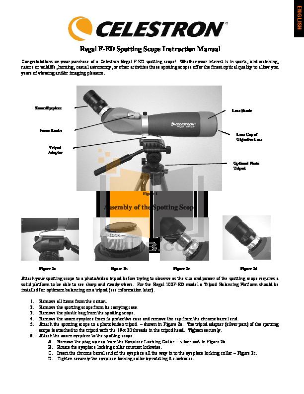 pdf for Celestron Other Zoom Master II Spotting Scope manual