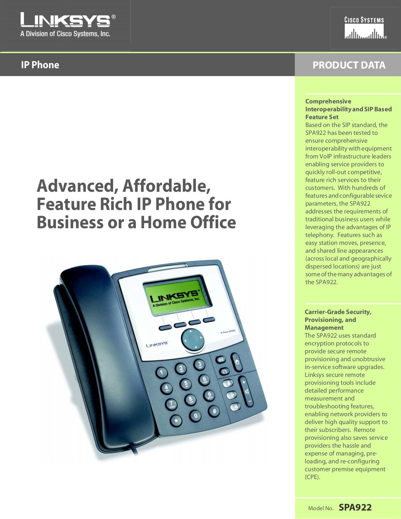 pdf for Linksys Telephone SPA922 manual