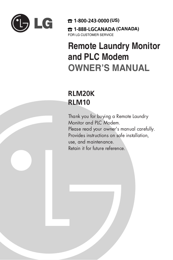 pdf for LG Other RLM20K Laundry Monitor manual