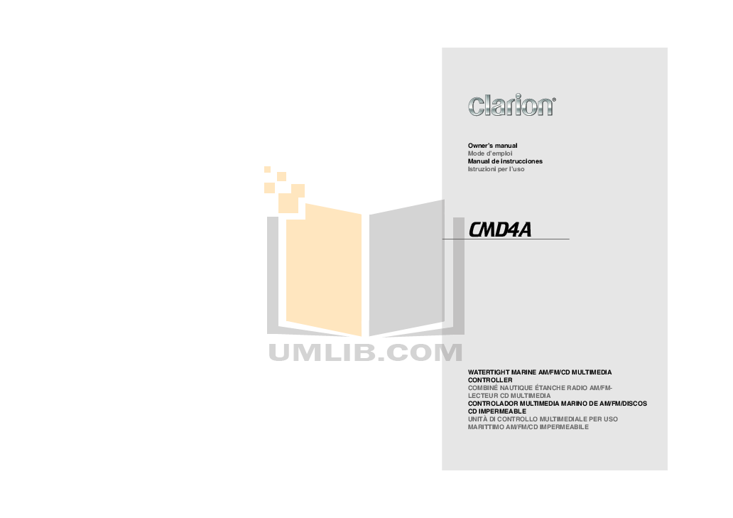 pdf for Clarion Receiver CMD4A manual