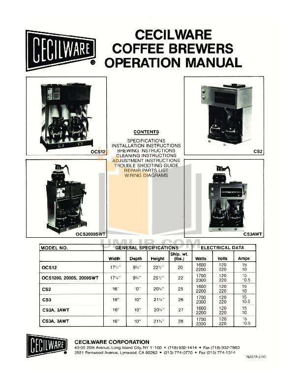 pdf for Cecilware Coffee Maker CS2 manual