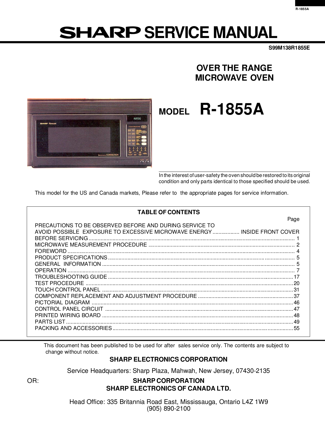 Pdf Manual For Sharp Microwave R 1505 Control Panel Circuit Diagram And Parts List Microwaveparts Page Preview
